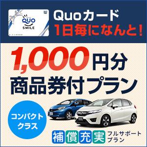 レンタル1日毎にQUOカード1000円分付♪ 万が一の事故時も安心のワイド補償込プラン